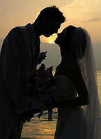 "Sunset Bride and Groom Portrait"" alt=""Sunset Bride and Groom Portrait"