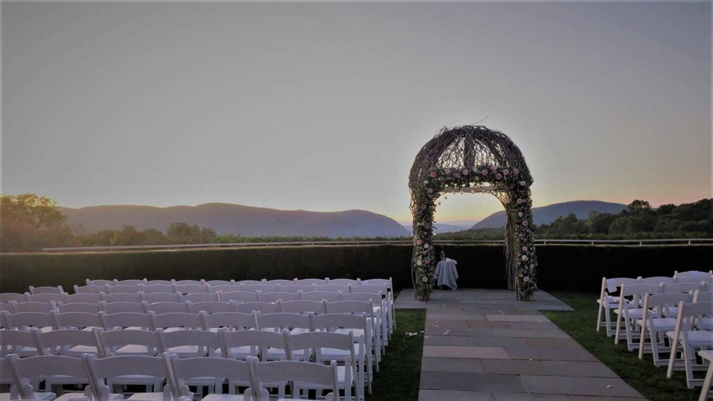 Wedding area at sunset